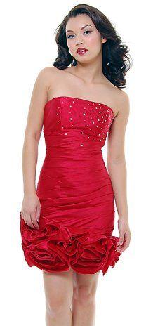 Taffeta Red Cocktail Dress Ruched Rose Hem Short Strapless Prom Dress $96.99