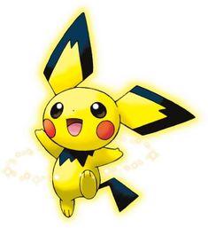 Pichu is an electric type who is the pre-evolution from Pikachu. Gold Pokemon, Type Pokemon, Pokemon Go, Pokemon Kanto, Pichu Pikachu Raichu, Digimon, Pikachu Evolution, Satoshi Tajiri, Painting Art