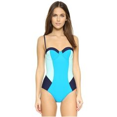 Diane von Furstenberg Barbados One Piece ($250) ❤ liked on Polyvore featuring swimwear, one-piece swimsuits, retro style one piece swimsuits, swim suits, one piece swimsuit, underwire bra and color block swimsuit