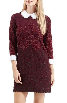 Topshop Embroidered Shift Dress