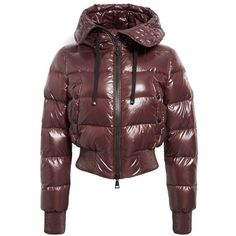 Women's Moncler 'sotiria' Water Resistant Shiny Nylon Down Bomber... ($1,125) ❤ liked on Polyvore featuring outerwear, jackets, shiny nylon jacket, red flight jacket, bomber jacket, nylon jacket and fitted jacket