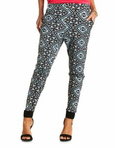 tribal print high-waisted jogger pants