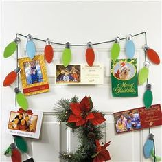 Light String Card Holder | 6-ft. string displays all your beautiful Christmas cards | Lillian Vernon