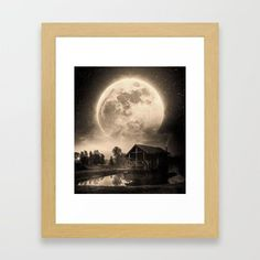 The House And The Moon Framed Art Print by seamless Surreal Collage, Wall Decor, Wall Art, Sci Fi Art, Wood Colors, Dark Wood, Framed Art Prints, Wall Tapestry, Surrealism