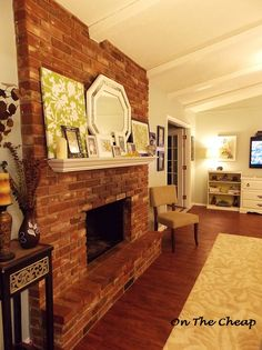 Red Brick Fireplace White Mantel.    How to drill into brick and hang a mantel