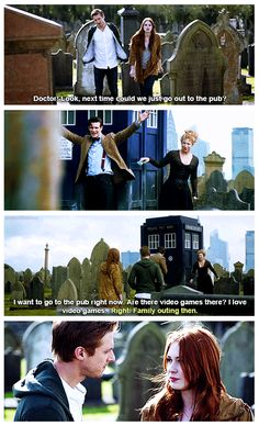 The final moments of the Pond Family.  This is the last time all four of them are together.  The next time we see The Doctor, he is living on a cloud, ignoring the world, and mourning the death of his family. The next time we see River, she's a ghost in a library.  And Amy and Rory lived to death.  This was it.  gif link: http://izonhorizon.tumblr.com/post/61708875367/aflawedfashion-the-final-moments-of-the-pond