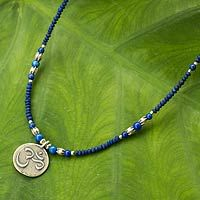 Lapis lazuli beaded necklace, 'Om Shanka' - Hill Tribe Silver and Lapis Necklace Yoga Jewelry