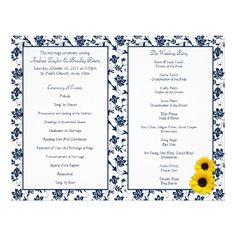 Blue Toile and Sunflower Wedding Program