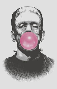 Frankenstein blowing a bubble with pink bubble gum art Beetlejuice, Tattoos 3d, Dibujos Tumblr A Color, Frankie Goes To Hollywood, Blowing Bubbles, Bride Of Frankenstein, Halloween Backgrounds, Halloween Wallpaper Iphone, Classic Monsters