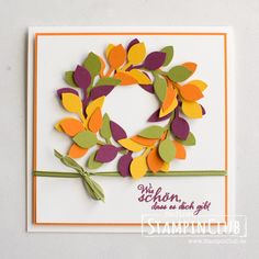 Stampin' Up!, StampinClub, Herbstanfang Leaf Punch, Kranz, Herbst, Stanze Blätterzweig Diy Thanksgiving Cards, Fall Cards, Winter Cards, Stampin Up Christmas, Christmas Cards, Wondrous Wreath, Paper Heart Garland, Candy Crafts, Fun Crafts