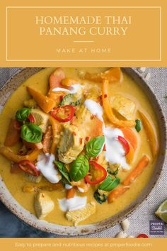 A creamy and aromatic Thai Panang Curry made with juicy chunks of chicken, crushed peanuts and a sweet Thai yellow curry paste. The spice in this Thai panang curry is balanced out with cool yogurt and sweet coriander, and it can be ready and on the table in just 30 minutes.