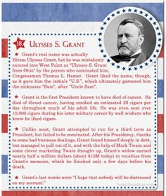 Over 100 Fascinating Facts About U.S Presidents Past and Present : Facts About US Presidents Ulysses S Grant Ulysses S Grant, Presidents Wives, American Presidents, Us History, American History, History Class, Presidential History, Presidential Trivia, Our President