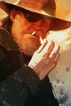 Movie moments by Massimo Carnevale. Rooster Cogburn from True Grit (the Jeff Bridges / Coen Brothers version).