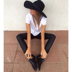 Cute outfit , casual edgy , felt hat , basic white tee , ankle boots , zipper be tail , zips , wet look pants