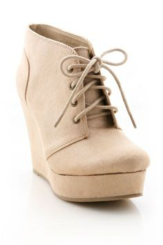 Tie Up Wedge Bootie   Trendy Shoes at Pink Ice $30