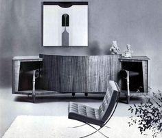 1967 custom living room decor with a JBL stereo.