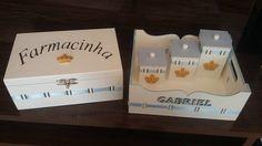 Kit Higiene personalizado no tema Coroa/Principe, contém:    1 abajur  1 porta fraldas  1 bandeja  3 potes  (Se desejar podemos acrescentar farmácia, garrafa térmica, lixeira, caixa organizadora) Consulte o preço.    Arte personalizada feita com madeira mdf de ótima qualidade, apliques em resina/...