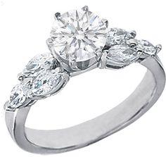 #mdcdiamonds.com          #ring                     #Engagement #Ring #Round #Diamond #Engagement #Ring #with #Marquise #Diamonds #side #stones #0.84 #tcw. #White #Gold #ES495       Engagement Ring - Round Diamond Engagement Ring with Marquise Diamonds side stones 0.84 tcw. In 14K White Gold - ES495                                      http://www.seapai.com/product.aspx?PID=827150