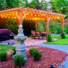 Outdoor decor party lights on pergola.