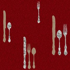 Traditional silverware service dressed in the latest décor styling adds panache and designer sophistication to this fanciful pattern. Modern applications such as metallic inks turn these everyday items into modern art, but the twist of using traditional damask as the allover print moves this pattern into a warmer, softer, transitional palette. Use this wallpaper alone, as an accent wall or with its coordinate border KB8559-KB8562 and coordinate allover background wallpaper mini damask KB8612-KB8