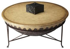 Butler Specialty Drum Cocktail Table in Mountain Lodge - transitional - Coffee Tables - Cymax