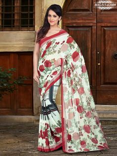Cream & Red Colour Georgette Printed Saree With Unstitched Blouse - Printed Sarees - Shop By Type - Sarees