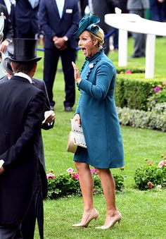 Zara Tindall wore an eye-catching teal mini dress for Ladies' Day at Royal Ascot – but did she break the rules with the length of her frock? Royal Ascot Ladies Day, Union Jack Dress, Ascot Outfits, Red Frock, Zara Phillips, Elisabeth Ii, Satin Midi Dress, Weekly Outfits, Royal Fashion