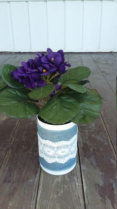 Denim Tin Can Centerpiece by ArtOfAlice on Etsy
