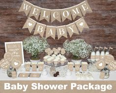 Rustic baby shower decorations printable, Gender neutral baby shower decorations, Neutral baby shower decors, Burlap baby shower decorations by MagicPartyDesigns on Etsy www.etsy.com/...