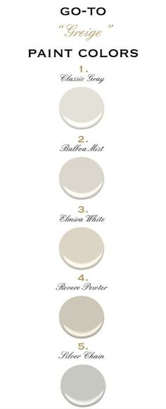 Painting anytime soon? Looking for that perfect mix of gray and beige? Well, here are some suggestions!  via I personally thi...