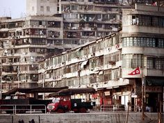 Buildings Along The Waterfront - Hong Kong in 1972 - Photo by Nick DeWolf