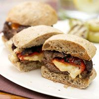 Pepper-Stuffed Burgers Recipe Inside these mesquite-seasoned burgers you'll find roasted sweet peppers oozing with melted pepper cheese. Grill them up for dinner or at a summer cookout with friends.