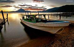 Ferry across Lago Atitlan, Panajachel, Guatemala.