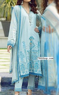 Sky Blue Lawn Suit   Buy Rang Rasiya Pakistani Dresses and Clothing online in USA, UK Pakistani Dresses Online Shopping, Online Dress Shopping, Fashion Pants, Fashion Dresses, Rang Rasiya, Pakistani Lawn Suits, Add Sleeves, Lawn Fabric, Shalwar Kameez