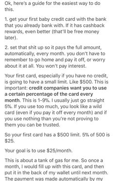 Building credit with your first credit card