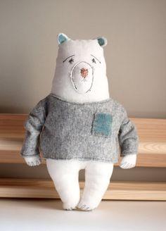 Stuffed bear Teddy bear toy Gift for her Woodland plushie Bear plush Bear toy Stuffed animal Bear softie Baby gift Bear doll Fabric doll Stuffed Bear, Dinosaur Stuffed Animal, Softies, Plushies, Pet Toys, Kids Toys, Teddy Bear Toys, Bear Doll, Fabric Dolls