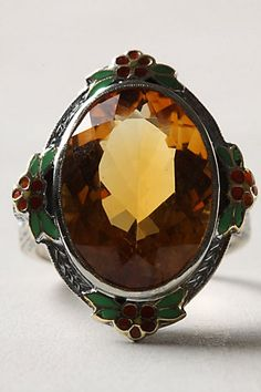 Citrine & Enamel Ring