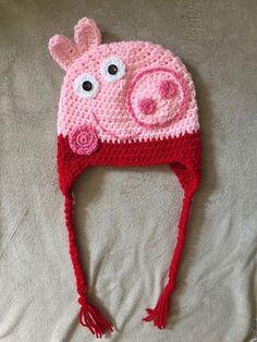 Ravelry: Peppa and George Pig pattern by It's So Crochet Crochet Kids Hats, Crochet Beanie Hat, Crochet Baby Booties, Newborn Crochet, Knitted Hats, Crochet Basics, Baby Knitting, Crochet Projects, Crochet Patterns