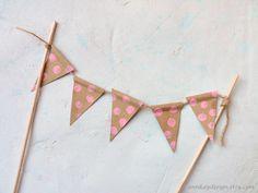 Pink Polka Dots Cake Topper Bunting Brown Kraft Paper Pennant Banner.
