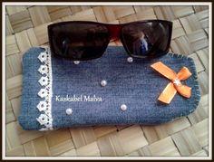 Funda para gafas en tela vaquera por Kaskabel Malva. Hand made