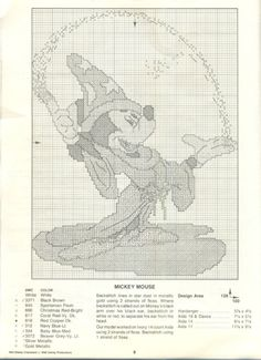 Paragon ~ Walt Disney Characters In Counted Cross Stitch #9 ~ Mickey Mouse                                                                                                                                                                                 More