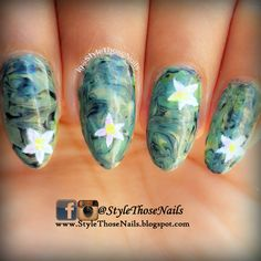 Camouflage Nails using dry marbling technique - Video Tutorial