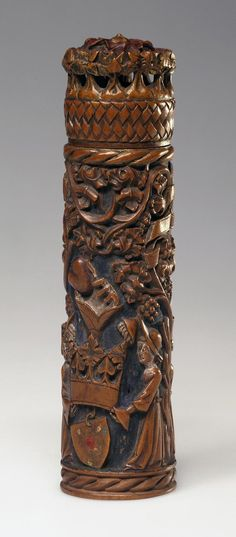 Title: Needle-Case with Love Symbolis Place of creation: Flanders Date: 15th century Material: wood Technique: carved Dimensions: h. 12,5 cm., H. 3 cm.