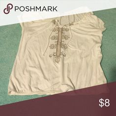 Beautiful embroidered top White too with tassels and elastic banded at bottom Old Navy Tops Blouses
