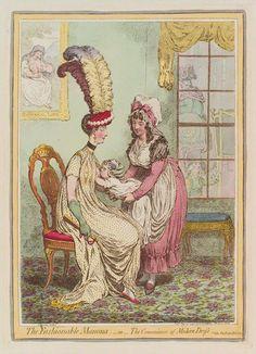 """La maman à la mode - ou - la commodité des robes modernes (""""The fashionable mamma - or - the convenience of modern dress"""") James Gillray, 15 février 1796 Gravure colorée main, 357 mm x 258 mm National Portrait Gallery, Londres, Royaume-Uni #courbe_de_poids_bebe"""