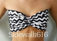 Black and White Chevron Bandeau Top Spandex Bandeau by Sidewalk616