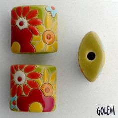 Flower Power Pillow Bead With Red Flowers, Pendant Bead, Yellow, Orange, Turquoise And Red Flowers, Golem Design Studio, Artisan Ceramic by JasmineTeaDesigns on Etsy