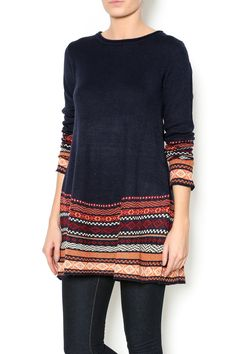 Super warmsweater with Nordic printed sleeves and hem. Nordic Sweater by Staccato. Clothing - Sweaters - Crew & Scoop Neck Texas