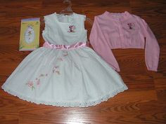 Disney Minnie Mouse Fancy Dress w Crinoline Layer Sweater & Tights Sz 4 EUC