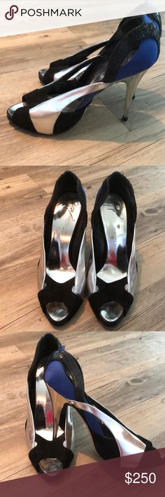 Sizzling Giuseppe Zanotti. Sz 38 These are hot shoes. Worn maybe two times. You can Still see where the price tag was on the bottom.  Heel  looks stainless steel. Made in Italy Giuseppe Zanotti Shoes Heels